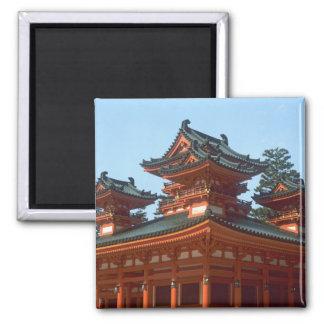 Japan, Kyoto, Colorful Heian Jingu Temple, 2 Inch Square Magnet