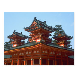 Japan, Kyoto, Colorful Heian Jingu Temple, Postcard