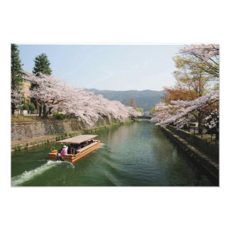 Japan, Kyoto. Flower viewing on the boat Photo Print