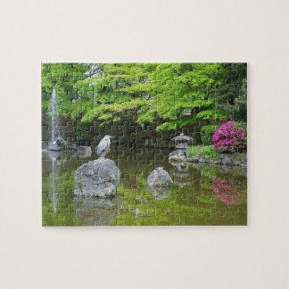 Japan, Kyoto. Heron in fresh green leaves Jigsaw Puzzle