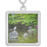 Japan, Kyoto. Heron in fresh green leaves Necklaces