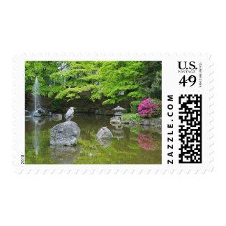 Japan, Kyoto. Heron in fresh green leaves Postage Stamp