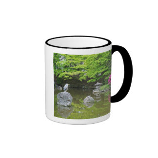 Japan, Kyoto. Heron in fresh green leaves Ringer Mug