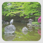Japan, Kyoto. Heron in fresh green leaves Square Stickers