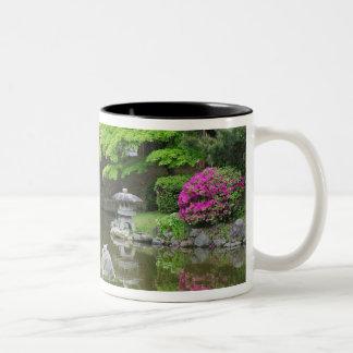 Japan, Kyoto. Heron in fresh green leaves Two-Tone Coffee Mug
