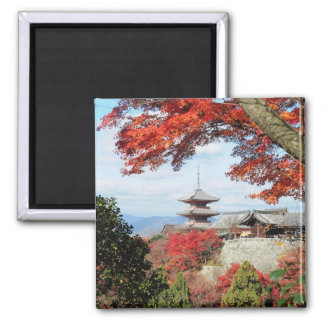 Japan, Kyoto. Kiyomizu temple in Autumn color 2 Inch Square Magnet