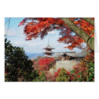 Japan, Kyoto. Kiyomizu temple in Autumn color Card