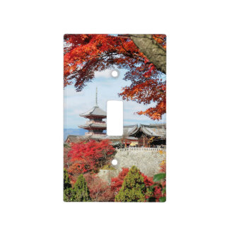 Japan, Kyoto. Kiyomizu temple in Autumn color Light Switch Covers