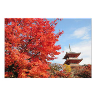 Japan, Kyoto. Kiyomizu temple in Autumn color Photo Print