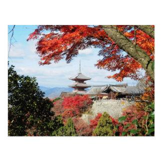 Japan, Kyoto. Kiyomizu temple in Autumn color Postcard