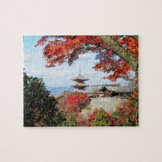 Japan, Kyoto. Kiyomizu temple in Autumn color Jigsaw Puzzles