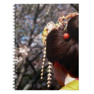 Japan, Kyoto. Rear view close-up of geisha's Spiral Notebook