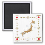 Japan Map + Flags Magnet