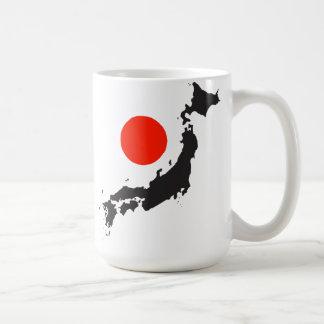 Japan map outline and circle coffee mug