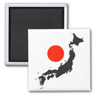 Japan map outline and circle 2 inch square magnet