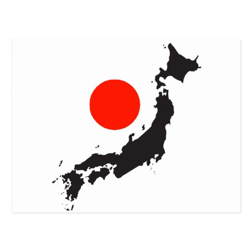 Japan map outline and circle postcard