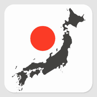 Japan map outline and circle square sticker