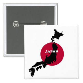 Japan - Map Silhouette and Flag Button