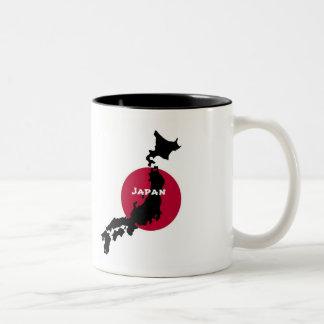 Japan - Map Silhouette and Flag Two-Tone Coffee Mug