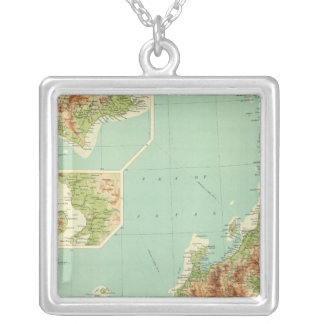 Japan map with shipping routes silver plated necklace