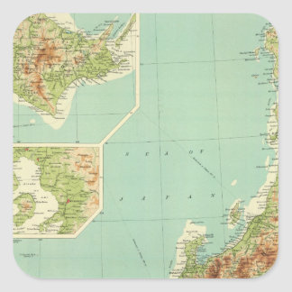 Japan map with shipping routes square sticker