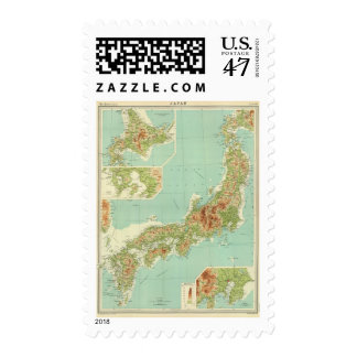 Japan map with shipping routes stamp