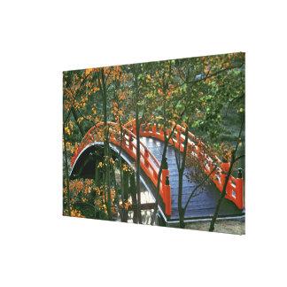 Japan, Nara Pref., Nara. The Royal Bridge glows Canvas Print