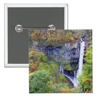 Japan, Nikko. Kegon waterfall of Nikko, a UNESCO 2 Inch Square Button
