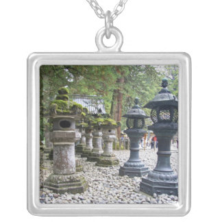 Japan, Nikko. Toshogu Shrine and mausoleum in Square Pendant Necklace