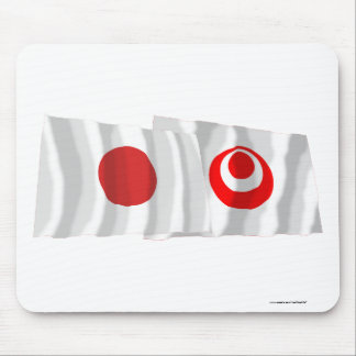 Japan & Okinawa Waving Flags Mouse Pad