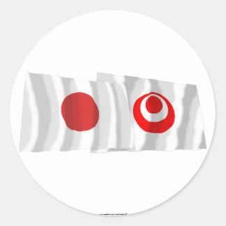 Japan & Okinawa Waving Flags Round Stickers