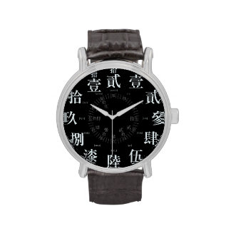 Japan old kanji style black face wrist watches