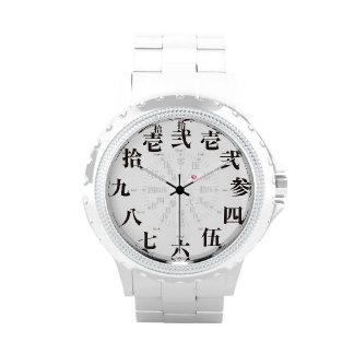 Japan old kanji style white face wristwatch