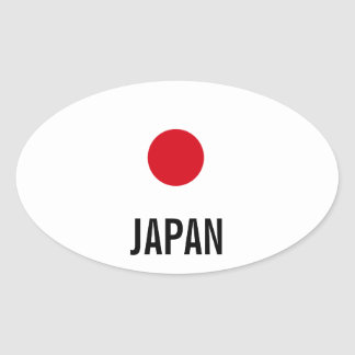 Japan oval flag stickers