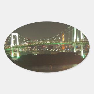 Japan Rainbow Bridge Oval Sticker