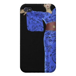 Japan Relief - Blue Kimono Geisha Cover For iPhone 4