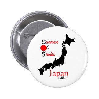 Japan relief tsunami earthquake Sendai Pinback Button