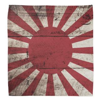 Japan Rising Sun Flag on Old Wood Grain Bandana