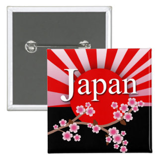 Japan Rising Sun Sakura Earthquake Relief Button