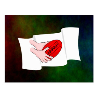 Japan Rugby Team Supporters Flag With Ball Postcard