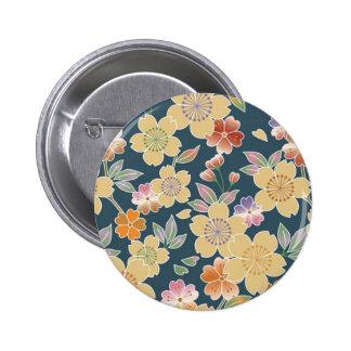 Japan, Sakura, Kimono, Origami, Chiyogami, Flower, 2 Inch Round Button