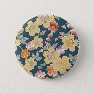 Japan, Sakura, Kimono, Origami, Chiyogami, Flower, Pinback Button