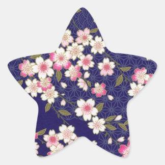 Japan, Sakura, Kimono, Origami, Chiyogami, Flower, Star Stickers