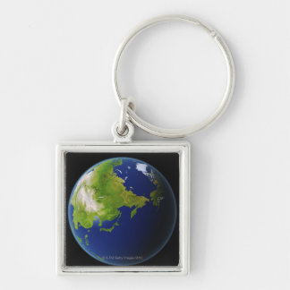 Japan Seen from Space Silver-Colored Square Keychain