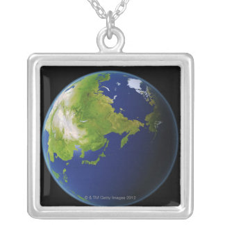 Japan Seen from Space Silver Plated Necklace