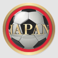 Japan Soccer Ball with Golden Frame Classic Round Sticker