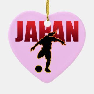 JAPAN SOCCER Double-Sided HEART CERAMIC CHRISTMAS ORNAMENT