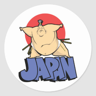 Japan Sumo Round Stickers