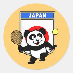 Round Sticker with Japanese Tennis Panda design