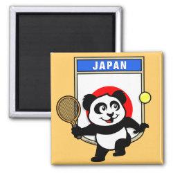 Square Magnet with Japanese Tennis Panda design